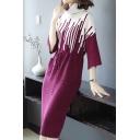 Winter's Fashion Cowl Neck Three-Quarter Sleeve Colorblock Drawstring Waist Midi Sheath Sweater Dress