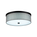 Gray Cylindrical Flush Light Simple Concise Fabric Mount Fixture for Living Room