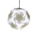 Simple Modern Floral DIY Drop Light Plastic Single Light Suspension Light in White