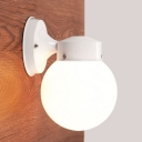 White Finish Orb Wall Mount Fixture with Opal Glass Shade Minimalist 1 Head Wall Light Sconce