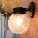 Black Spherical Sconce Light Modern Fashion Swirl Glass Single Light Wall Mount Light