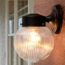 Modernism Sphere Sconce Lighting with Ribbed Glass Shade 1 Bulb Wall Mount Fixture in Black