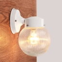 White Finish Ball Wall Mount Light Contemporary 1 Light Wall Lamp with Ribbed Glass Shade