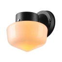 Milky Glass Schoolhouse Wall Light Minimalist 1 Head Wall Mount Light for Coffee Shop