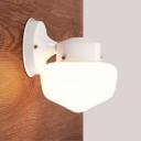 Single Light Schoolhouse Wall Lamp with Opal Glass Nordic Style Mini Lighting Fixture in White