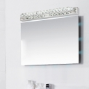 Modern Crystal Vanity Light Stainless Makeup Lighting Fixture in Warm/White for Bathroom