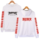 Cool Popular PURPOSE BIEBER WORLD TOUR Letter Print Fitted Unisex Hoodie