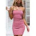 Women's Sexy Ruffle Trim Fashion Plaid Printed Mini Bodycon Bandeau Dress