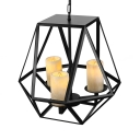 Heavy Cage Wrought Iron Three-light LOFT LED Pendant Light