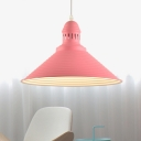 Modern Fashion Conical Drop Light Metal Single Light Suspension Light in Pink for Kids