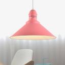 Modern Fashion Conical Drop Light Metal Single Light Suspension Light in Pink for Kids