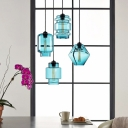 Aqua Geometric Lighting Fixture Modern Fashion Glass 1 Bulb Pendant Light for Bedside