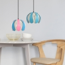 Colorful Modern Dome Pendant Light 1 Head Hanging Lamp with Metal Slat for Children Room