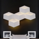 White Geometric LED Lighting Fixture Nordic Style Metallic 5 Heads Sconce Light for Restaurant