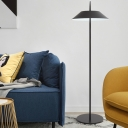 1 Light Coolie Floor Light Contemporary Steel Standing Light in Black for Sitting Room