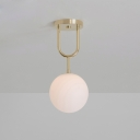 Brass Finish Globe Ceiling Light Modernism Opal Glass 1 Head Semi Flush Mount Lighting