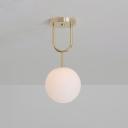 Brass Finish Globe Ceiling Light Modernism Opal Glass 1 Head Semi Flush Mount Lighting