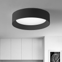 Black Round Flush Light Fixtures Minimalist Acrylic 1 Light Ceiling Light for Living Room