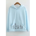 Cute Cartoon Animal Claw Embroidered Pocket Long Sleeve Pullover Rabbit Ear hoodie