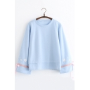 Chic Floral Embroidered Bow-Tied Cuff Long Sleeve Round Neck Loose Fit Pullover Sweatshirt