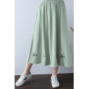 Chic Floral Embroidered Hem Elastic Waist Midi A-Line Cotton Skirt