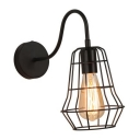 Gooseneck Wall Mount Light with Metal Cage Industrial 1 Light Lighting Fixture in Black for Sitting Room