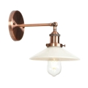Single Light Armed Wall Light with White Glass Shade Industrial Decorative Sconce Lighting in Copper