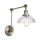 Ribbed Glass Bowl Sconce Light Industrial Adjustable 1 Head Wall Lighting in Bronze for Studio