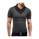Fashion Button-Embellished V Neck Short Sleeve Men's Slim Fit T-Shirt