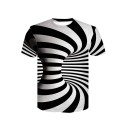 Hot Popular 3D Black and White Striped Whirlpool Print Unisex Casual T-Shirt