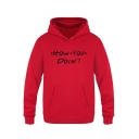Popular Letter HOW YOU DOIN Print Long Sleeve Warm Thick Loose Fit Hoodie