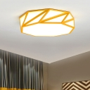 Macaron Geometric LED Flush Light Bedroom Hallway Metal Decorative Ceiling Light in Pink/Yellow
