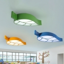 Macaron Colorful Leaf Lighting Fixture Amusement Park Kids Bedroom Metal LED Ceiling Light