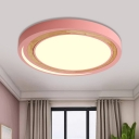 Metal LED Ceiling Lamp with Round Ultra Thin Shade Green/Pink/White Flush Light for Kids Room