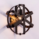 Metallic Wheel Style Wall Sconce Industrial 1 Light Decorative Wall Mount Light in Black for Living Room