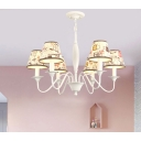 3/6 Lights Curved Arm Chandelier with Tapered Fabric Shade Lodge Style Hanging Lamp in White
