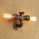 2 Heads Linear Wall Sconce Industrial Metal Wall Mount Fixture in Antique Brass/Bronze/Silver