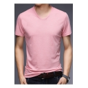 Basic Simple Plain Short Sleeve V-Neck Men's Fashion Casual T-Shirt