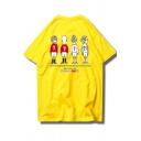 Summer Cartoon Soccer Character Printed Loose Casual Cotton T-Shirt