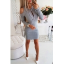 Fancy Crochet Patched Hem Round Neck Cold Shoulder Long Sleeve Plain Mini Bodycon Dress