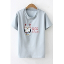 Cartoon Night Owl Letter Embroidered Ruffled Round Neck Short Sleeve T-Shirt