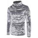 Men's Winter New Trendy High Neck Long Sleeve Plain Velvet Fitted Sweatshirt