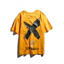 Street Style Letter Big X GIVE ME A GROUP Print Oversized Loose T-Shirt
