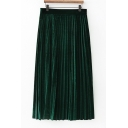 High Elastic Waist Velvet Midi Pleated Skirt