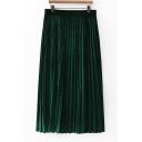 High Elastic Waist Velvet Midi Pleated Skirt