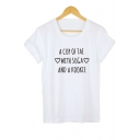 Letter A CUP OF TEA WITH SUGA AND A KOOKIE Heart Print Short Sleeve Cotton Tee