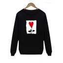 Heart Printed Round Neck Long Sleeve Leisure Cozy Sweatshirt