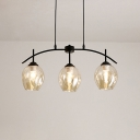 3 Light Curved Arm Hanging Light Designers Style Cognac Glass Art Deco Suspension Light