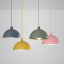 Half Globe LED Pendant Lamp Macaron Simple Colorful Metal Ceiling Light for Children Room