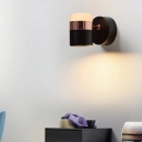 Pipe Shade Wall Light Contemporary Metal Rotatable LED Wall Light in Black for Staircase
